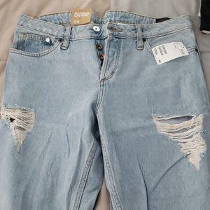 Boyfriend ripped jeans H&M tapered leg light wash